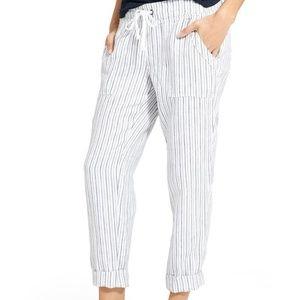 Athleta 8 White Gray Stripe Bali Linen Ankle Pants